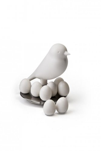 Stojan s magnetkami Qualy Magnetic Egg Sparrow - biely